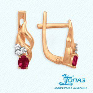 Серьги с рубинами и бриллиантами Линии Любви