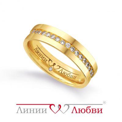 Обручальное кольцо с бриллиантами Линии ЛюбвиКольцо<br>Кольцо обручальное из золота 585 пробы с белыми бриллиантами (арт. Л11191142). Размер 15,5.<br><br>Articule: Л11191142<br>Тип: Кольцо<br>Пол: Унисекс<br>Материал: золото золото<br>Вес изделия г: 4.63<br>Вставка: белые бриллианты<br>Размеры: 22, 21, 20, 19, 18, 17, 16, 15
