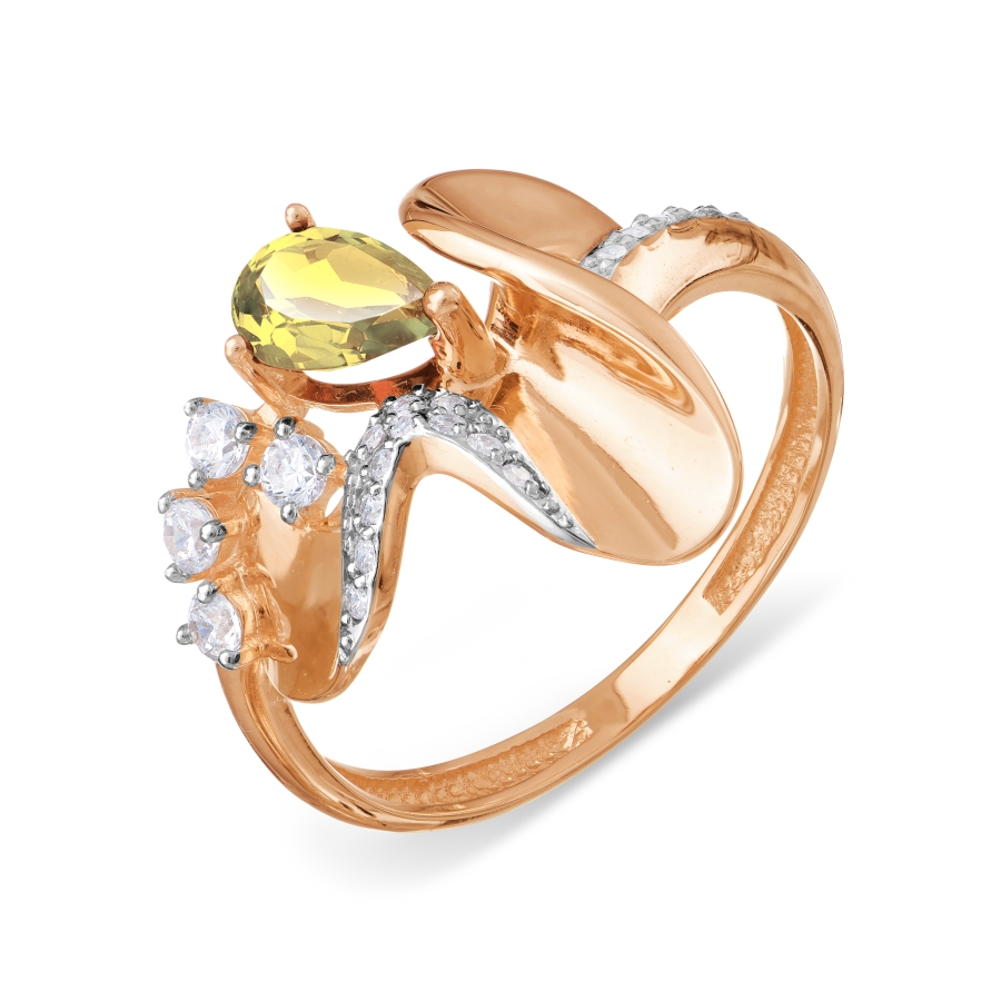 Кольцо с цитрином и фианитами Линии Любви фото