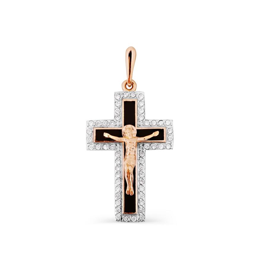 Крестик с эмалью и фианитами Линии Любви фото
