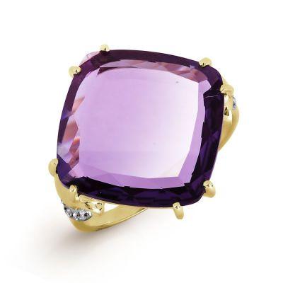 Кольцо с кварцем и фианитами Линии Любви фото