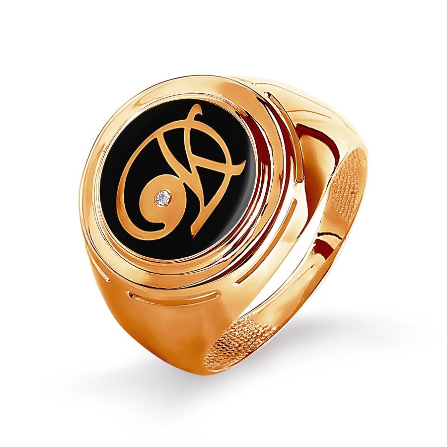 Кольцо с эмалью Линии Любви фото