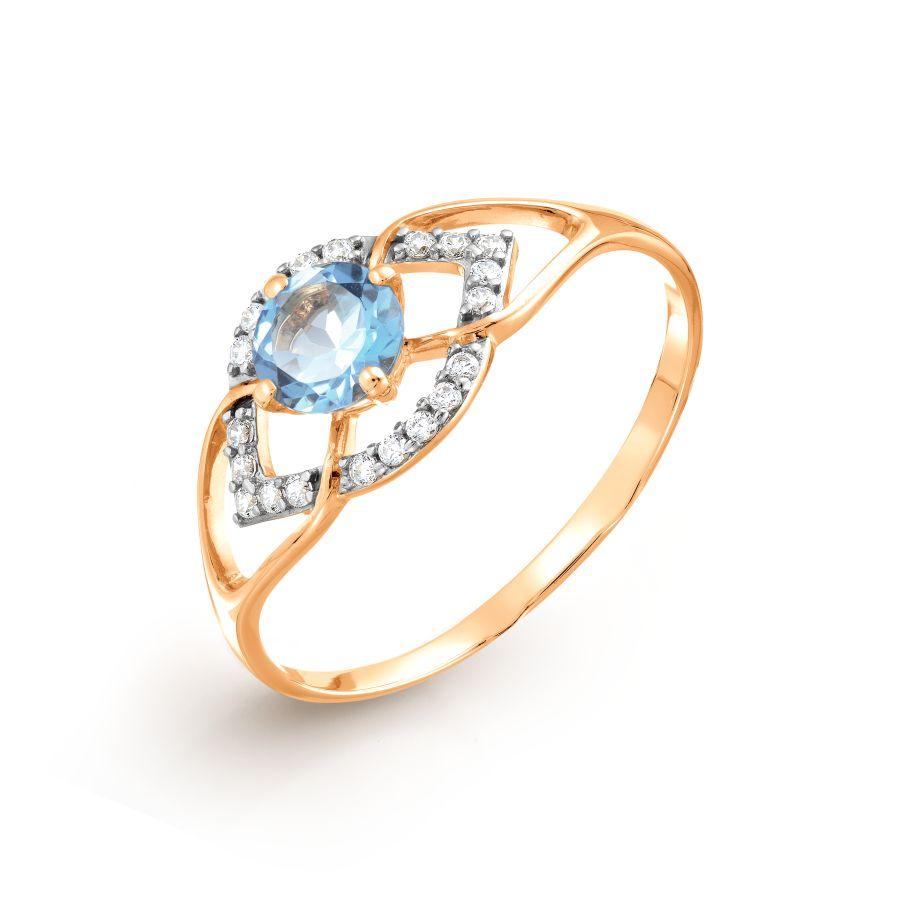 Кольцо с топазом и фианитами Линии Любви, Кольцо Т147017563