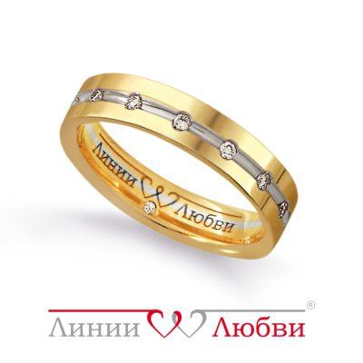 Обручальное кольцо с бриллиантами Линии ЛюбвиКольцо<br>Кольцо обручальное из золота 585 пробы с белыми бриллиантами (арт. Л23191253). Размер 16,5.<br><br>Articule: Л23191253<br>Тип: Кольцо<br>Пол: Унисекс<br>Материал: золото золото<br>Вес изделия г: 4.46<br>Вставка: белые бриллианты<br>Размеры: 21, 19, 15, 17