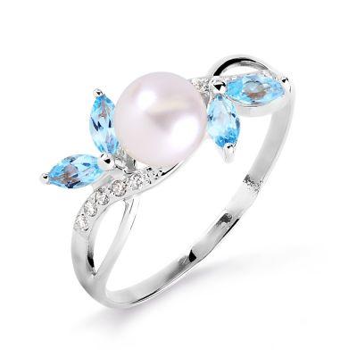 Кольцо с жемчугом, топазами и фианитами Линии Любви фото