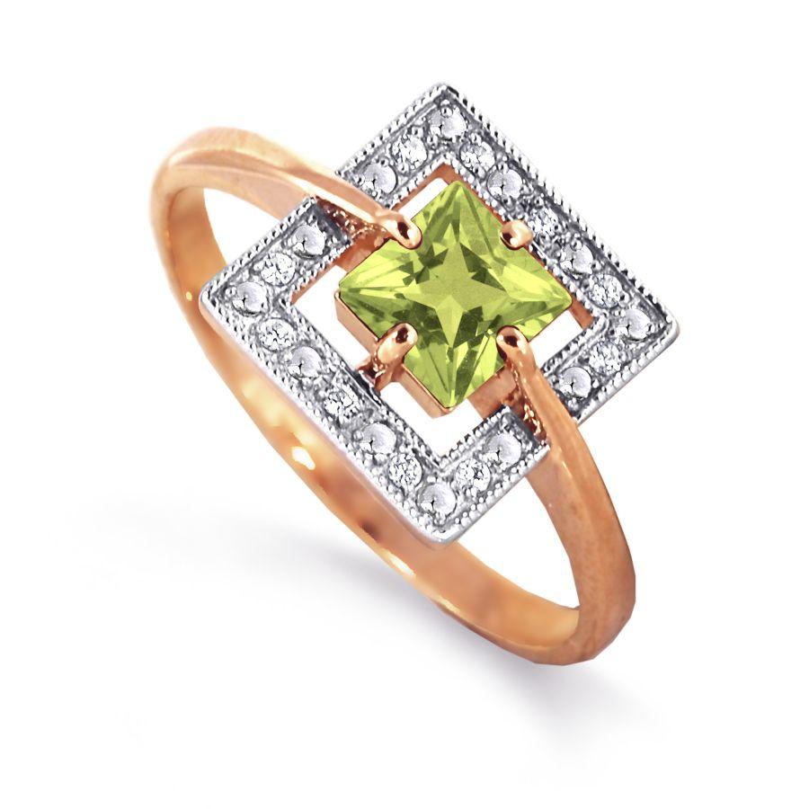 Кольцо с хризолитом и фианитами Линии Любви фото