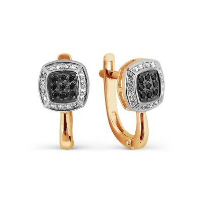 Серьги с бриллиантами и Swarovski Zirconia Линии Любви
