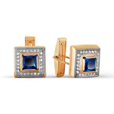 Запонки с бриллиантами и сапфирами Линии Любви