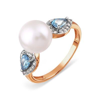 Кольцо с жемчугом, топазами и фианитами Линии Любви