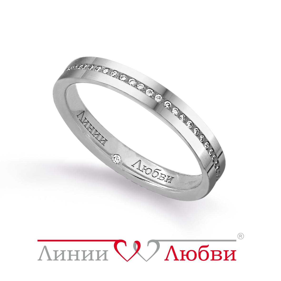 Обручальное кольцо с бриллиантами Линии ЛюбвиКольцо<br>Кольцо обручальное из золота 585 пробы с белыми бриллиантами (арт. Л31101141). Размер 17.<br><br>Articule: Л31101141<br>Тип: Кольцо<br>Пол: Унисекс<br>Материал: золото золото<br>Вес изделия г: 3.1<br>Вставка: белые бриллианты<br>Размеры: 22, 21, 20, 19, 18, 17, 16, 15