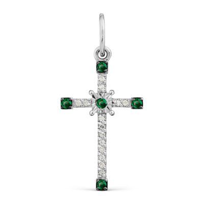 Крестик с изумрудами и бриллиантами Линии Любви фото