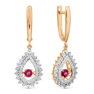 Серьги с рубинами и бриллиантами Линии Любви фото