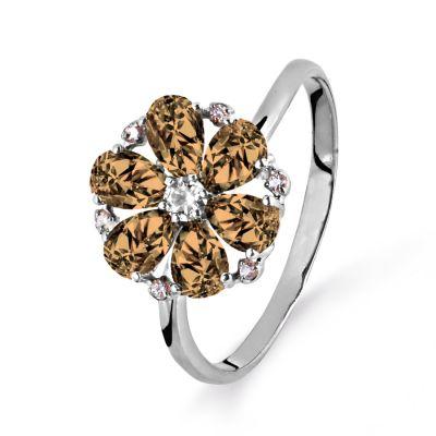 Кольцо с раухтопазами и фианитами Линии Любви фото
