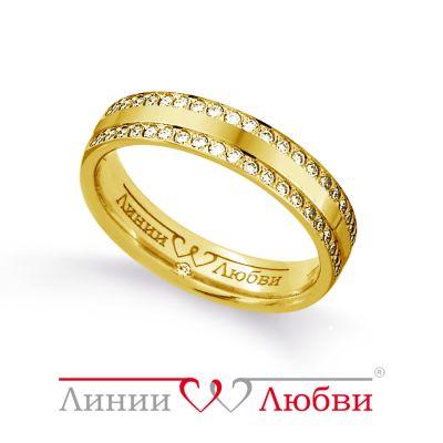 Обручальное кольцо с бриллиантами Линии ЛюбвиКольцо<br>Кольцо обручальное из золота 585 пробы с белыми бриллиантами (арт. Л91101136). Размер 17.<br><br>Articule: Л91101136<br>Тип: Кольцо<br>Пол: Унисекс<br>Материал: золото золото<br>Вес изделия г: 4.91<br>Вставка: белые бриллианты<br>Размеры: 20, 17
