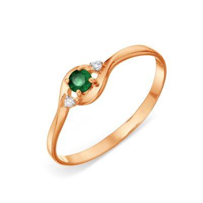 Кольцо с изумрудом и бриллиантами Линии Любви фото