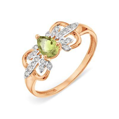 Кольцо с хризолитом и Swarovski Zirconia Линии Любви