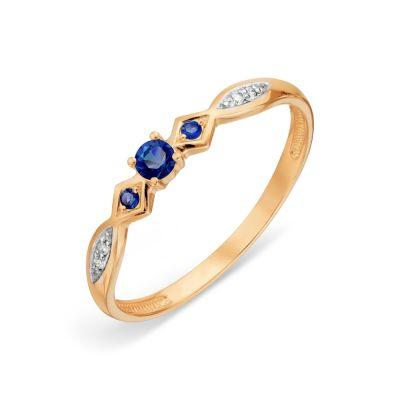 Кольцо с сапфирами и бриллиантами Линии Любви