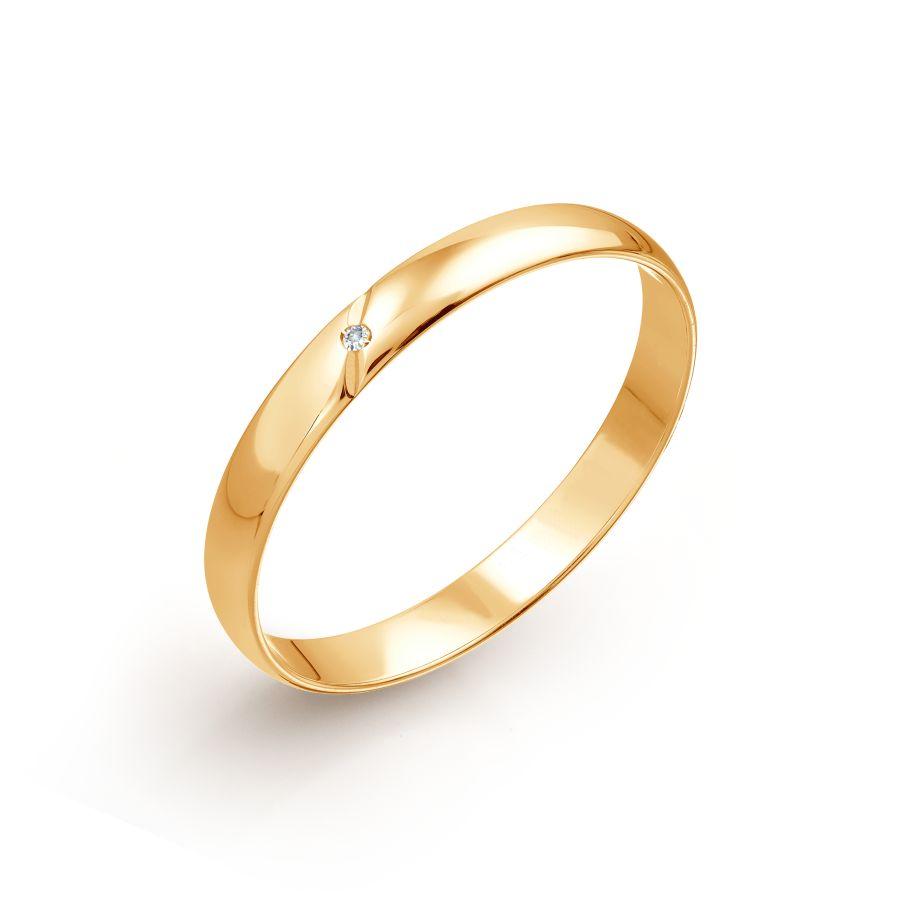 Кольцо обручальное с бриллиантом Линии Любви