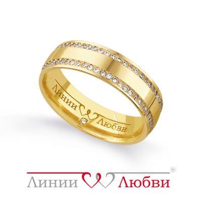 Обручальное кольцо с бриллиантами Линии Любви фото