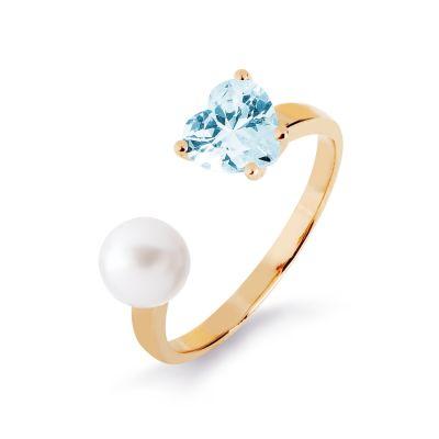 Кольцо с жемчугом и фианитом Линии Любви фото