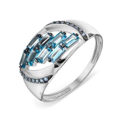 Кольцо с топазами и фианитами Линии Любви фото