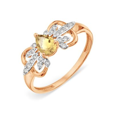 Кольцо с цитрином и Swarovski Zirconia Линии Любви