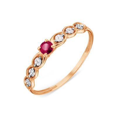 Кольцо с рубином Линии Любви фото