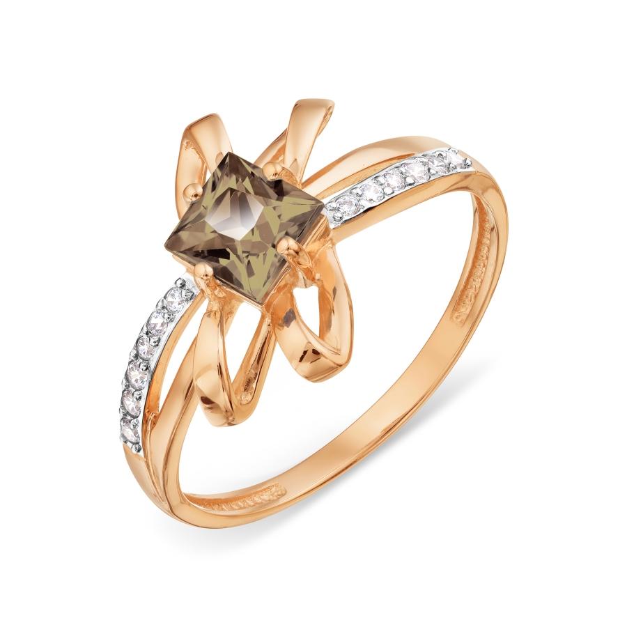 Кольцо с раухтопазом и фианитами Линии Любви, Кольцо Т147018510