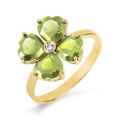 Кольцо с хризолитами и фианитом Линии Любви фото