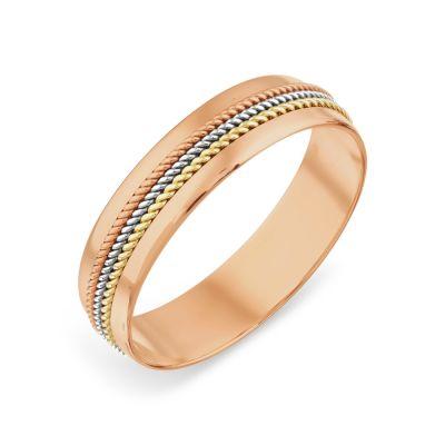 Кольцо обручальное из разных цветов золота Линии Любви