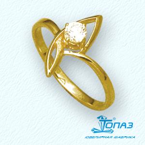 Кольцо с фианитом Линии Любви фото