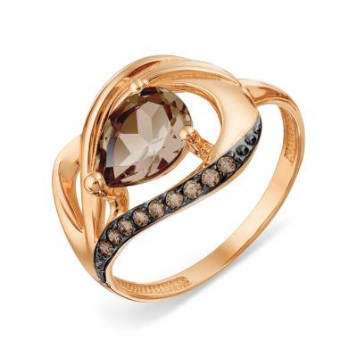 Кольцо с раухтопазом и фианитами Линии Любви фото