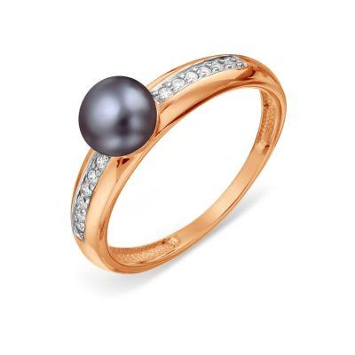 Кольцо с жемчугом и фианитами Линии Любви фото