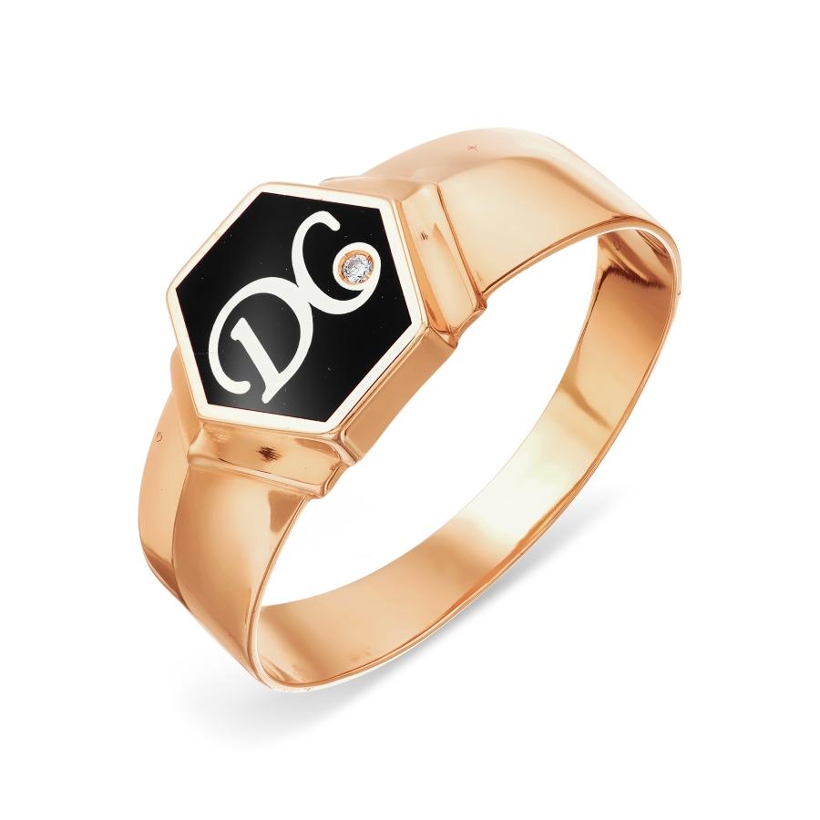 Кольцо с эмалью и фианитом Линии Любви фото