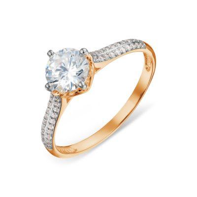 Кольцо с топазом Swarovski и бриллиантами Линии Любви