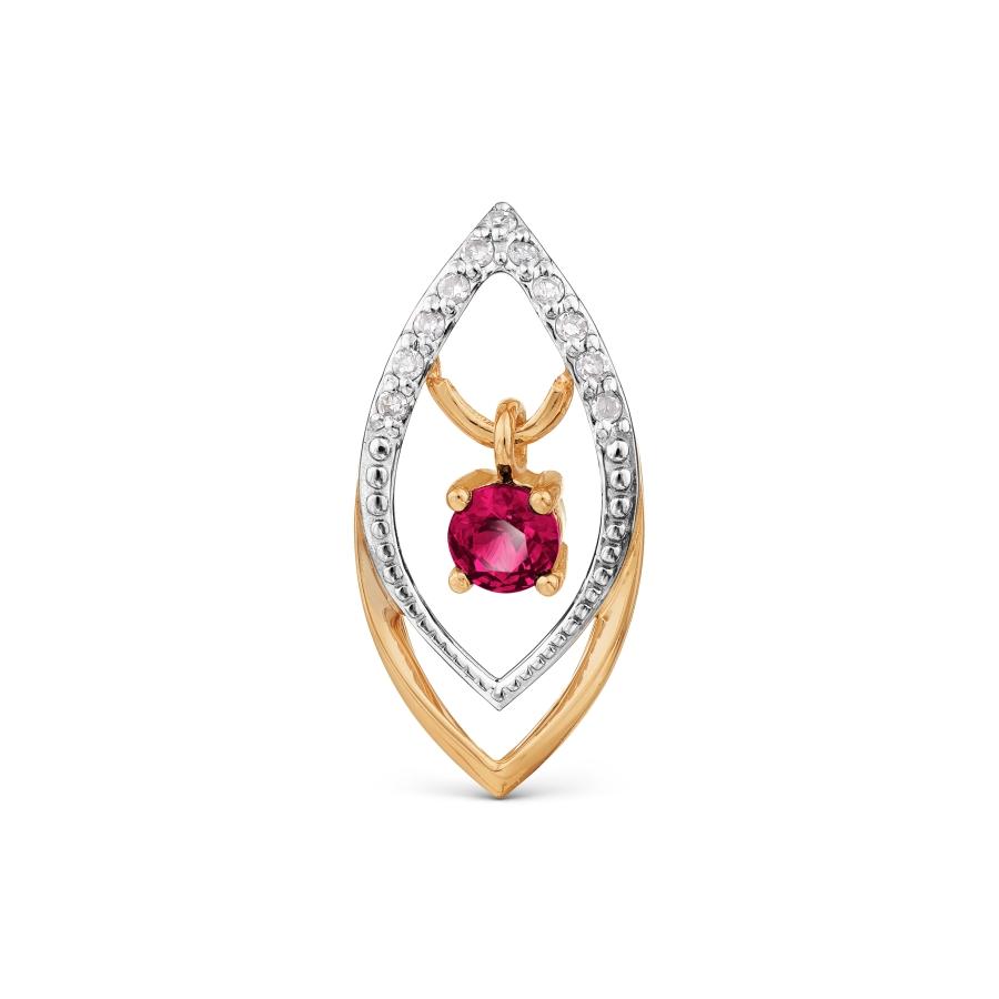 Подвеска с рубином и бриллиантами Линии Любви фото