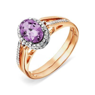 Кольцо с аметистом и бриллиантами Линии Любви фото