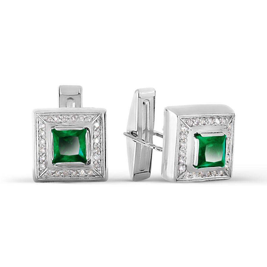 Запонки с бриллиантами и ониксами Линии Любви